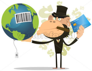 cartoon-monkey-businessman-selling-earth.eps - Benchart's Shop