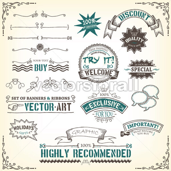 doodles-banners-ribbons-and-awards - Vectorsforall