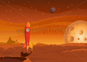 spaceship-on-martian-landscape - Benchart's Shop