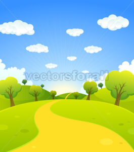 spring-or-summer-cartoon-green-landscape.eps - Benchart's Shop