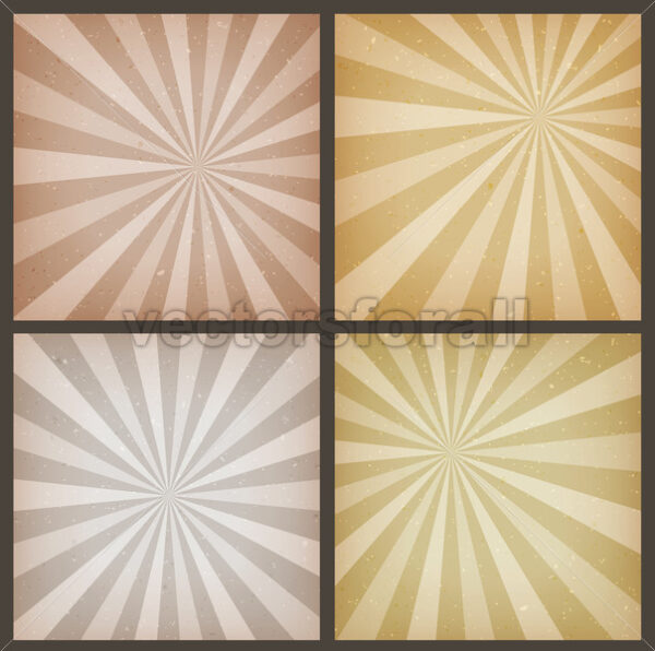 Abstract Vintage Sunbeams Backgrounds Set - Vectorsforall