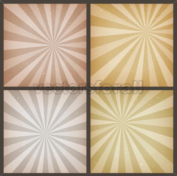 Abstract Vintage Sunbeams Backgrounds Set - Vectorsforall