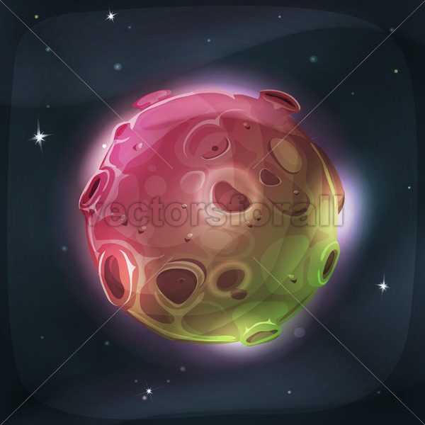 Alien Moon Planet On Space Background - Vectorsforall