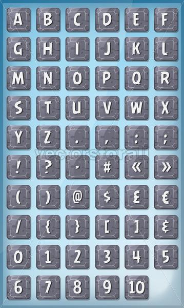 Alphabet Font Set On Stone Signs - Vectorsforall