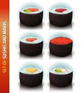 Asian Sushis And Makis Set - Vectorsforall