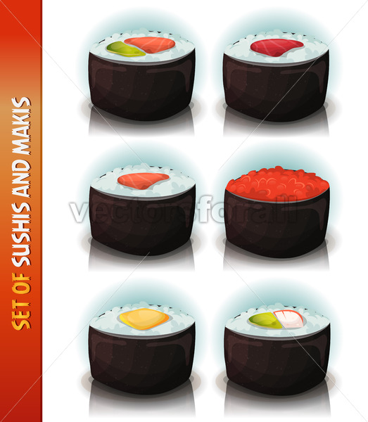 Asian Sushis And Makis Set - Vectorsforall