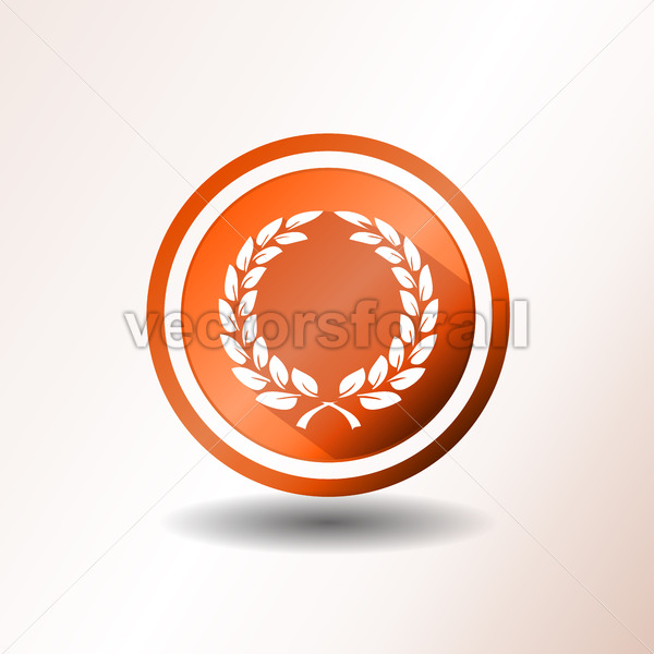 Award Laurel Wreath Icon In Flat Design - Vectorsforall