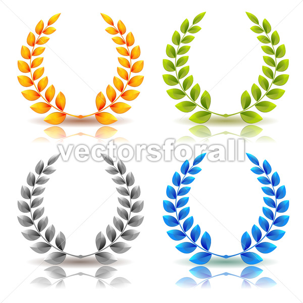 Awards And Laurel Leaves Wreath Set - Vectorsforall