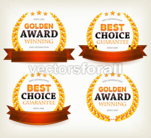 Awards Banners, Ribbons And Laurel Leaves - Vectorsforall