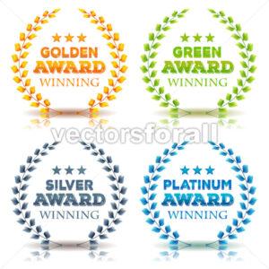 Awards Winning And Laurel Leaves Set - Vectorsforall