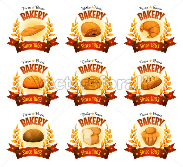 Bakery Shop Banners With Breads And Cakes - Vectorsforall
