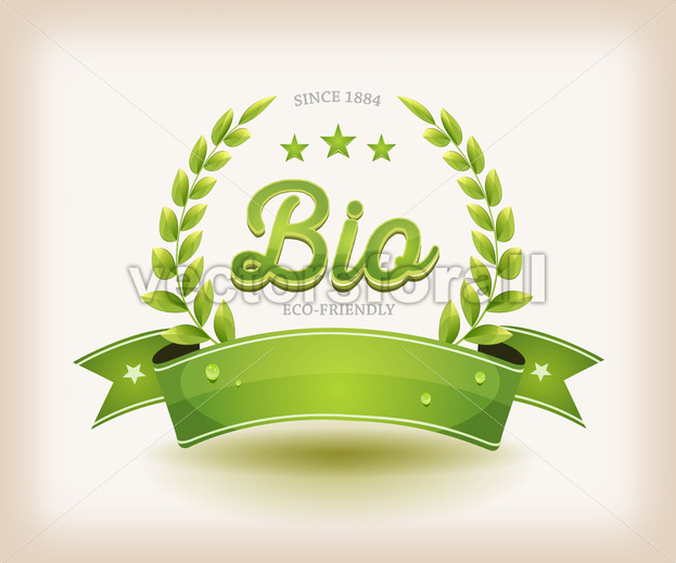 Bio And Eco Label With Green Banner - Vectorsforall