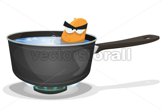 Boiling Potato Inside Kitchen Pan - Vectorsforall