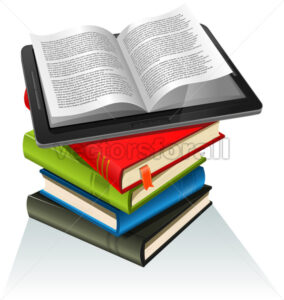 Book Stack And Tablet PC - Vectorsforall