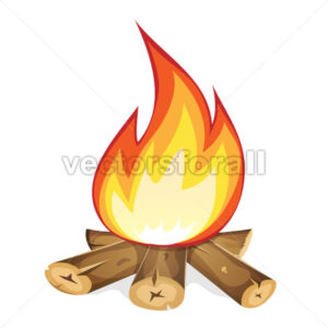 Burning Bonfire With Wood - Vectorsforall