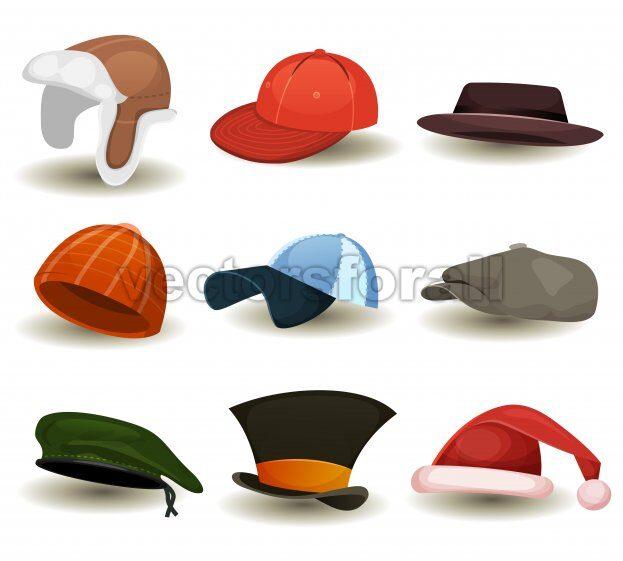 Caps, Top Hats And Other Headwear Set - Vectorsforall
