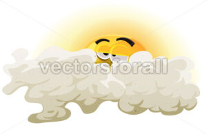 Cartoon Asleep Sun Character - Vectorsforall