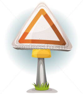 Cartoon Blank Road Sign - Vectorsforall