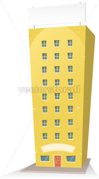 Cartoon Building With Sign - Vectorsforall