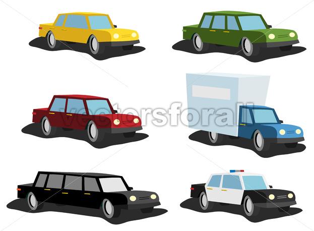 Cartoon Cars Set - Vectorsforall