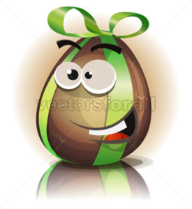 Cartoon Chocolate Easter Egg Character - Vectorsforall