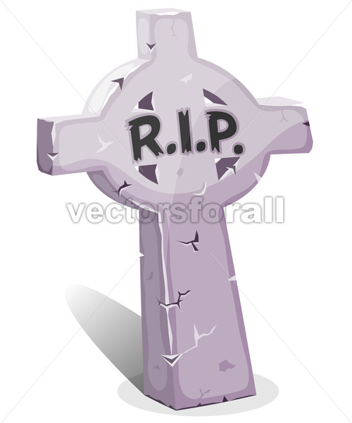 Cartoon Christian Tombstone With RIP - Vectorsforall