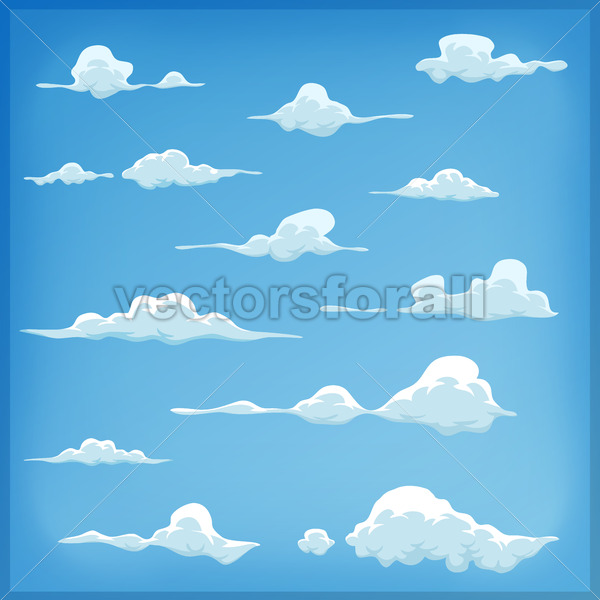Cartoon Clouds Set On Blue Sky Background - Vectorsforall