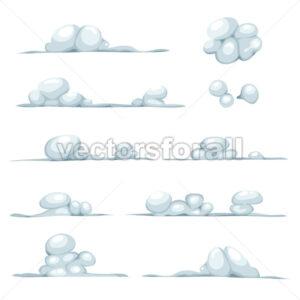 Cartoon Clouds, Smoke, Stone, Snow And Boulders Set - Vectorsforall