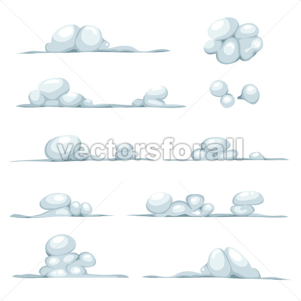 Cartoon Clouds, Smoke, Stone, Snow And Boulders Set - Vectorsforall