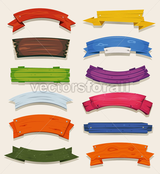 Cartoon Colored Wood Banners And Ribbons - Vectorsforall