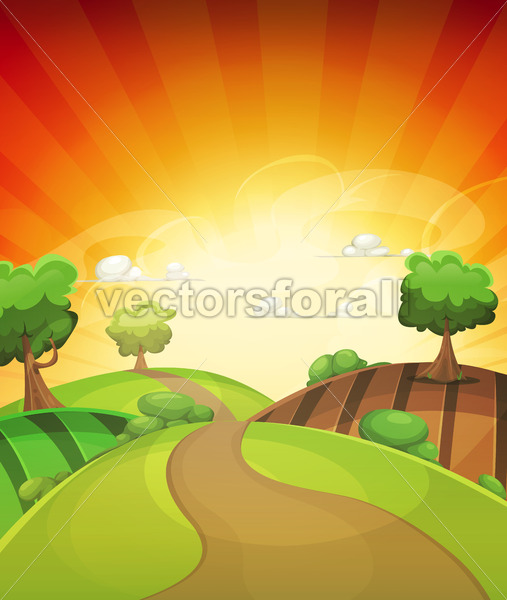 Cartoon Country Background In Spring Or Summer Sunset - Vectorsforall