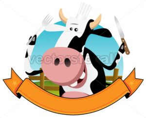 Cartoon Cow Banner - Vectorsforall
