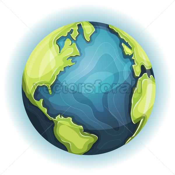 Cartoon Earth Planet - Vectorsforall