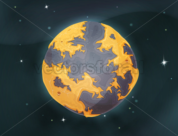Cartoon Earth Planet On Space Background - Vectorsforall
