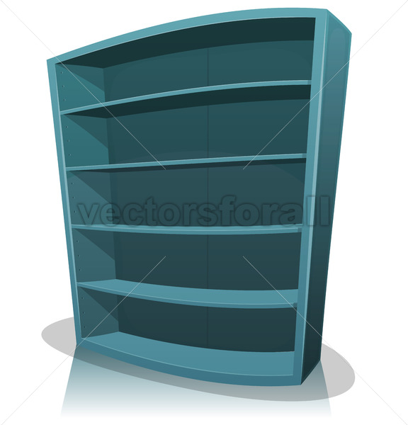 Cartoon Empty Library Bookshelf - Vectorsforall