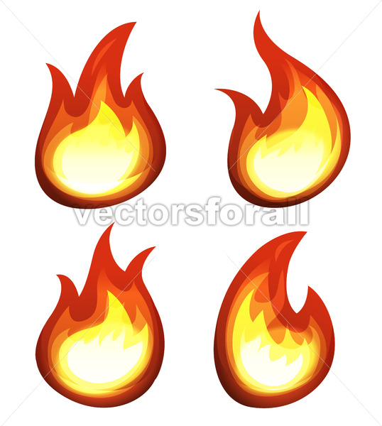 Cartoon Fire And Flames Set - Vectorsforall