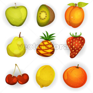 Cartoon Fruit Icons Set - Vectorsforall
