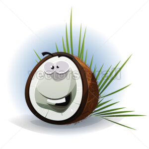 Cartoon Funny Coconut Character - Vectorsforall