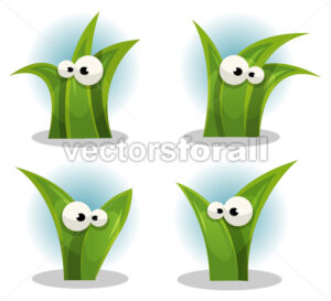 Cartoon Funny Grass Leaves Characters - Vectorsforall