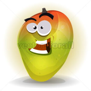 Cartoon Funny Mango Character - Vectorsforall
