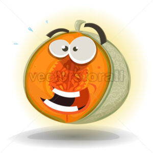 Cartoon Funny Melon Character - Vectorsforall