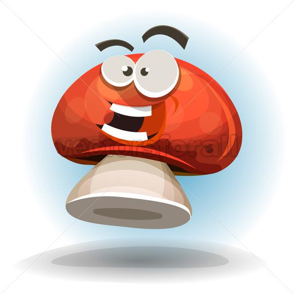Cartoon Funny Mushroom Character - Vectorsforall