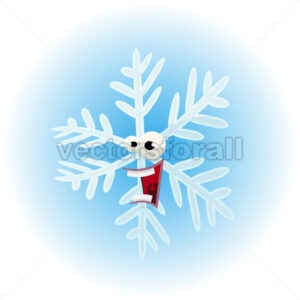 Cartoon Funny Snowflake Character - Vectorsforall
