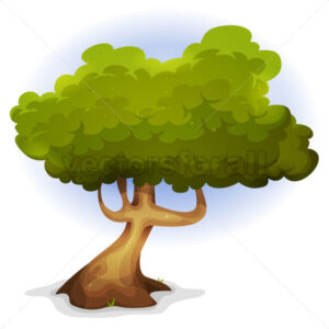 Cartoon Funny Spring Tree - Vectorsforall