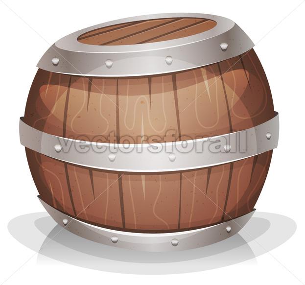 Cartoon Funny Wood barrel - Vectorsforall