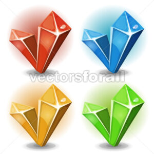 Cartoon Gems And Diamonds Icons - Vectorsforall