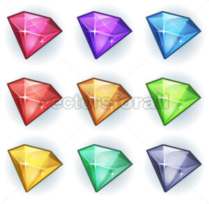Cartoon Gems And Diamonds Icons Set - Vectorsforall