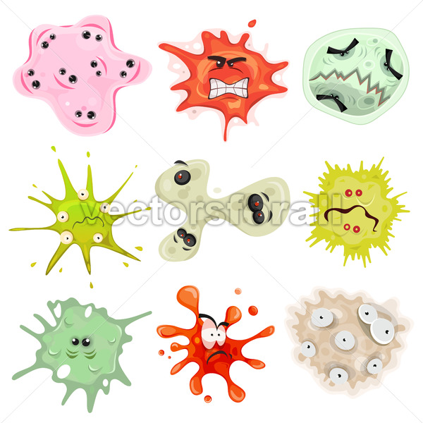 Cartoon Germs, Virus And Microbes - Vectorsforall