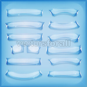 Cartoon Glass Ice and Crystal Banners - Vectorsforall