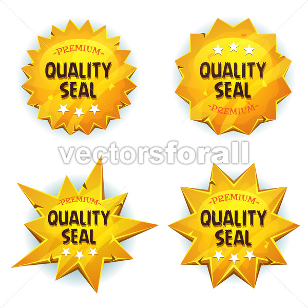 Cartoon Gold Premium Quality Seals - Vectorsforall
